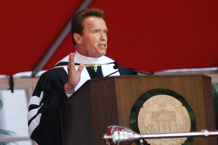 Governor Arnold Schwarzenegger delivers a speech to graduates during Commencement.